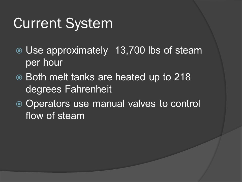 Current System  Use approximately 13,700 lbs of steam per hour  Both melt tanks are heated up to 218 degrees Fahrenheit  Operators use manual valves to control flow of steam