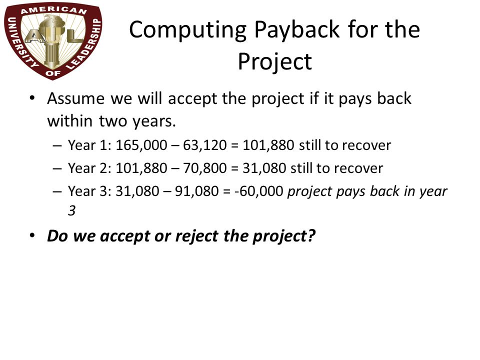 Computing Payback for the Project Assume we will accept the project if it pays back within two years.