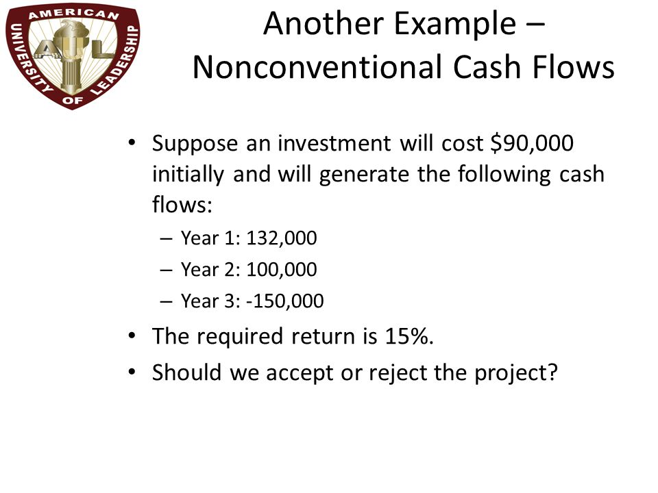 Another Example – Nonconventional Cash Flows Suppose an investment will cost $90,000 initially and will generate the following cash flows: – Year 1: 132,000 – Year 2: 100,000 – Year 3: -150,000 The required return is 15%.