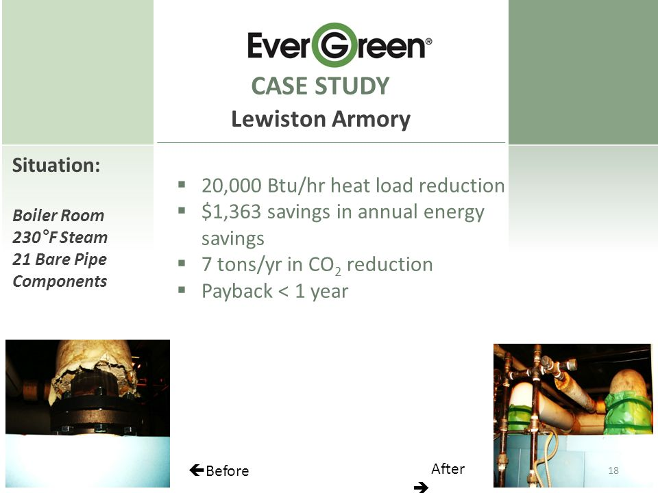Situation: Boiler Room 230°F Steam 21 Bare Pipe Components CASE STUDY Lewiston Armory  20,000 Btu/hr heat load reduction  $1,363 savings in annual energy savings  7 tons/yr in CO 2 reduction  Payback < 1 year  Before After  18