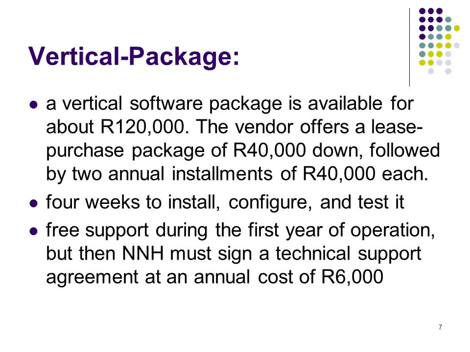 Vertical-Package: a vertical software package is available for about R120,000.