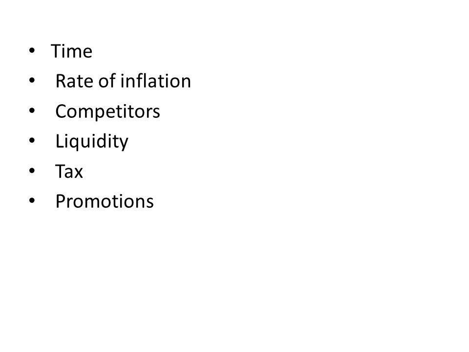 Time Rate of inflation Competitors Liquidity Tax Promotions