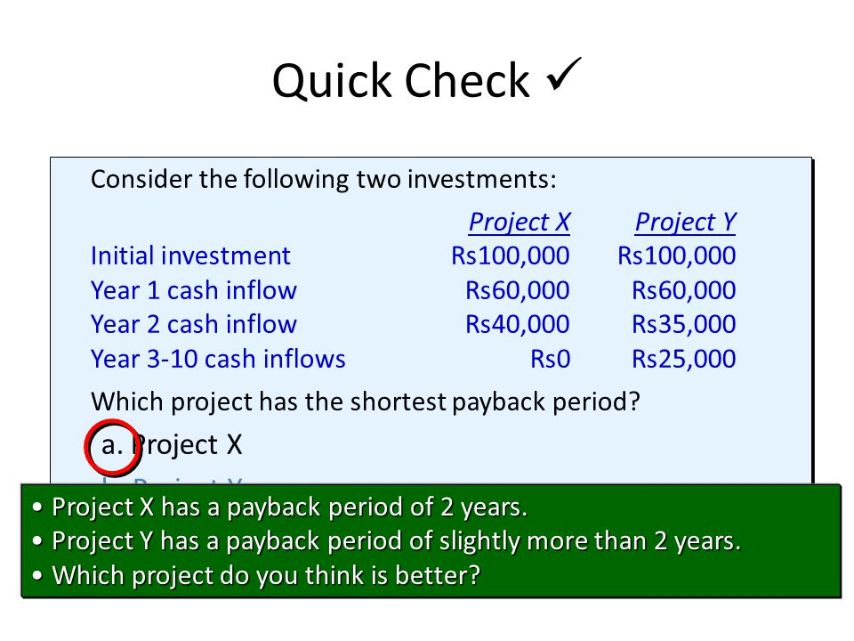 Consider the following two investments: Project XProject Y Initial investmentRs100,000Rs100,000 Year 1 cash inflowRs60,000Rs60,000 Year 2 cash inflowR