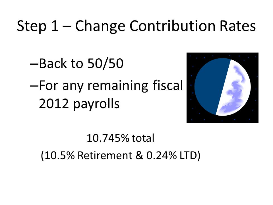 Step 1 – Change Contribution Rates – Back to 50/50 – For any remaining fiscal year 2012 payrolls 10.745% total (10.5% Retirement & 0.24% LTD)
