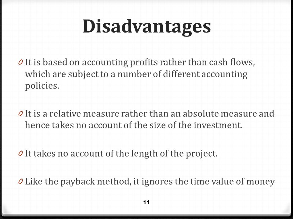 Disadvantages 0 It is based on accounting profits rather than cash flows, which are subject to a number of different accounting policies. 0 It is a re