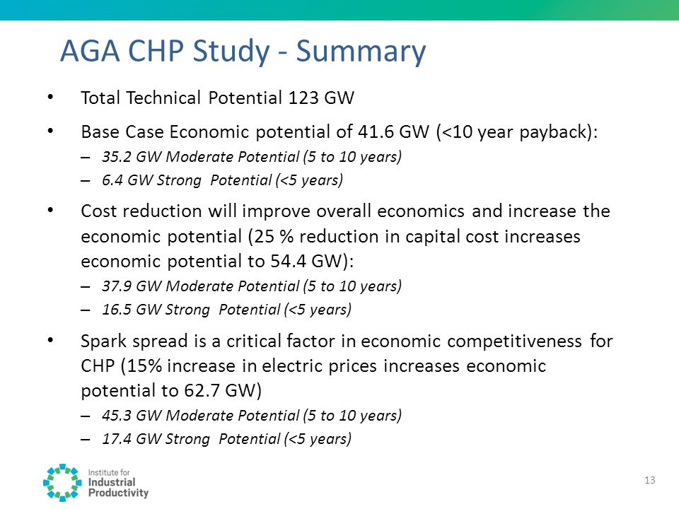 AGA CHP Study - Summary Total Technical Potential 123 GW Base Case Economic potential of 41.6 GW (<10 year payback): – 35.2 GW Moderate Potential (5 t