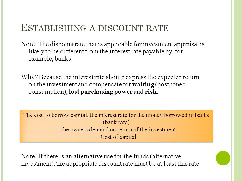 E STABLISHING A DISCOUNT RATE Note! The discount rate that is applicable for investment appraisal is likely to be different from the interest rate pay