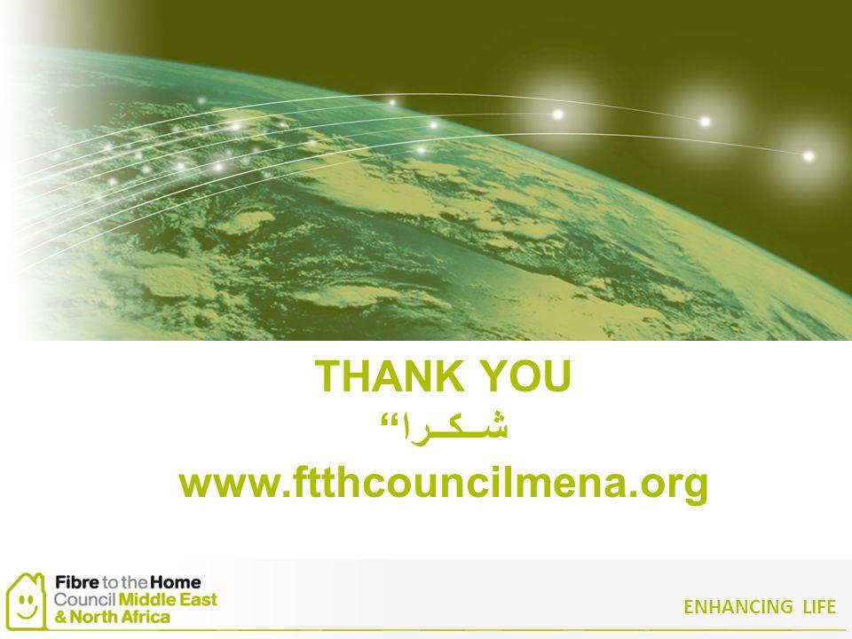 ENHANCING LIFE THANK YOU شــكــرا www.ftthcouncilmena.org