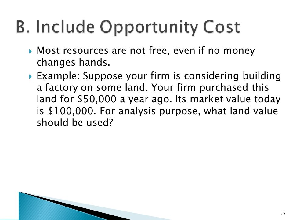  Most resources are not free, even if no money changes hands.  Example: Suppose your firm is considering building a factory on some land. Your firm
