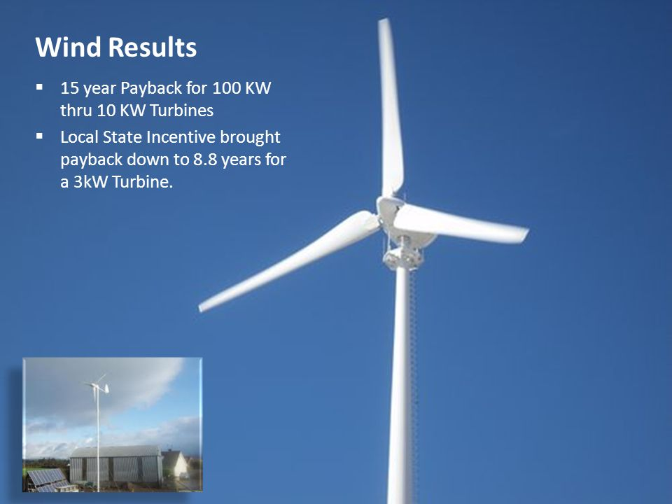 22 Wind Results  15 year Payback for 100 KW thru 10 KW Turbines  Local State Incentive brought payback down to 8.8 years for a 3kW Turbine.