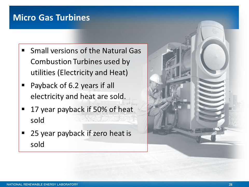 28  Small versions of the Natural Gas Combustion Turbines used by utilities (Electricity and Heat)  Payback of 6.2 years if all electricity and heat are sold.