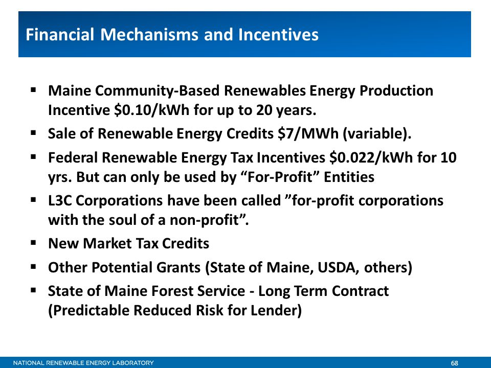 68 Financial Mechanisms and Incentives  Maine Community-Based Renewables Energy Production Incentive $0.10/kWh for up to 20 years.