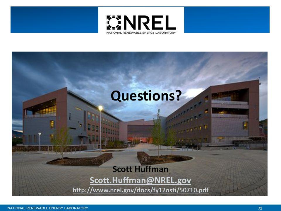 71 Questions Scott Huffman Scott.Huffman@NREL.gov http://www.nrel.gov/docs/fy12osti/50710.pdf