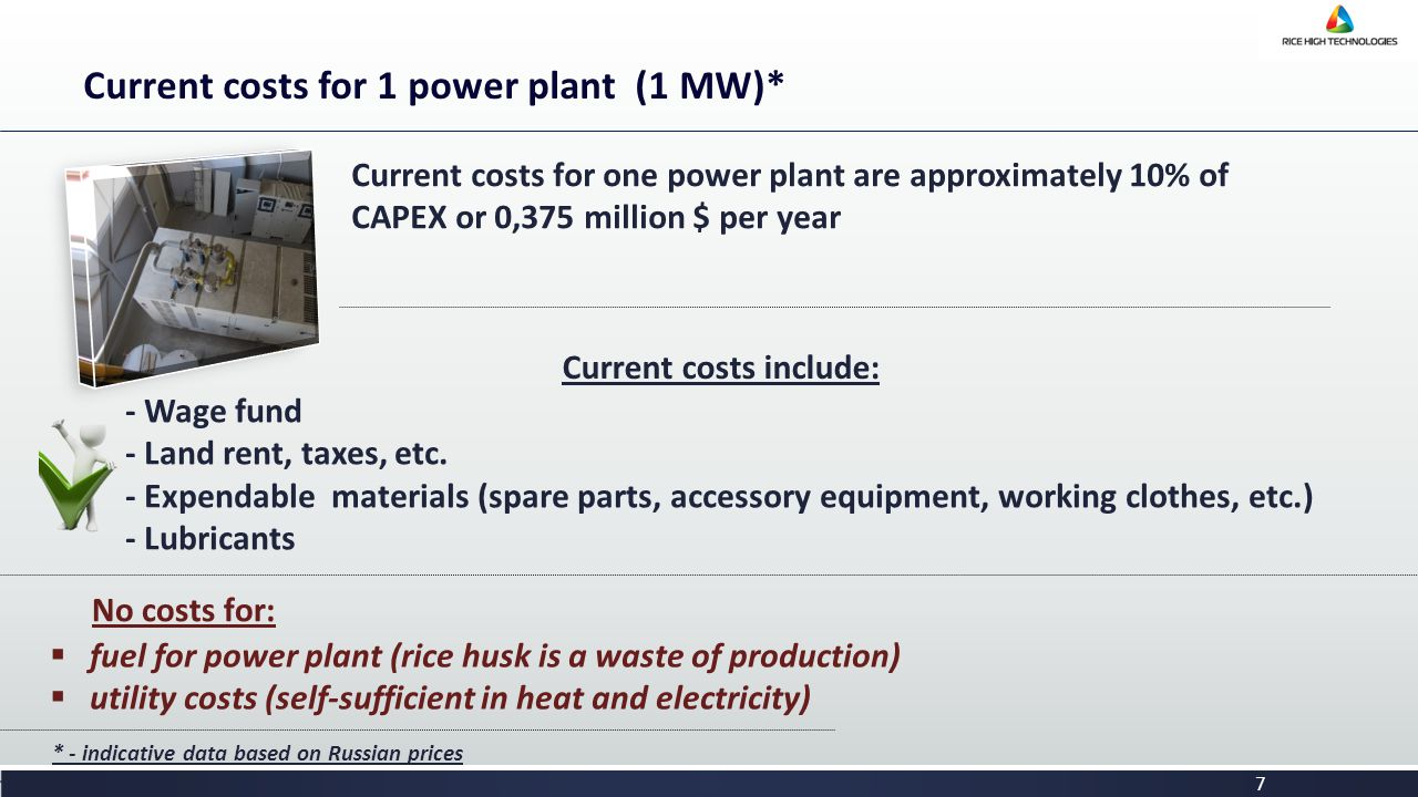 7 Current costs for 1 power plant (1 МW)* Current costs for one power plant are approximately 10% of CAPEX or 0,375 million $ per year Current costs include: - Wage fund - Land rent, taxes, etc.