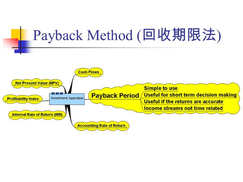 Payback Method ( 回收期限法 )