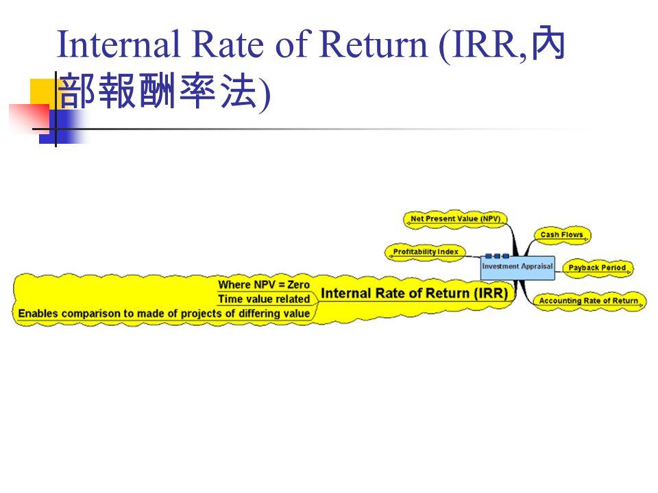 Internal Rate of Return (IRR, 內 部報酬率法 )