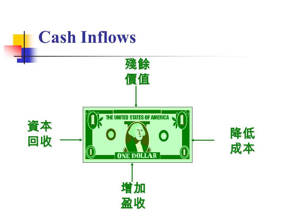 5 Cash Inflows降低成本 殘餘價值 增加盈收 資本回收