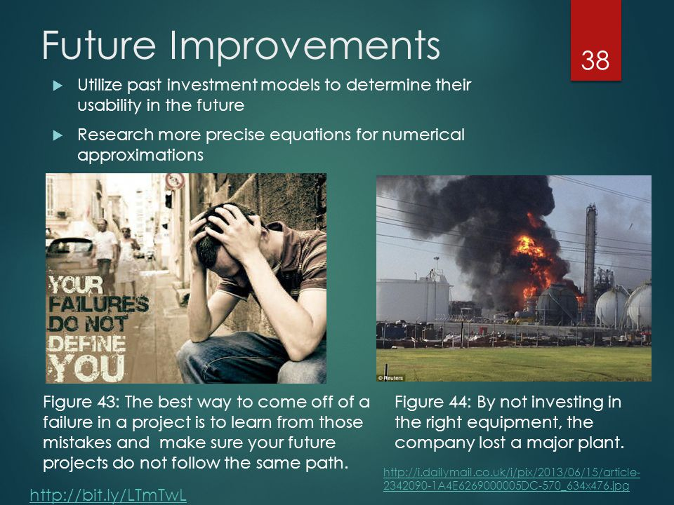 Future Improvements  Utilize past investment models to determine their usability in the future  Research more precise equations for numerical approximations 38 http://bit.ly/LTmTwL Figure 43: The best way to come off of a failure in a project is to learn from those mistakes and make sure your future projects do not follow the same path.