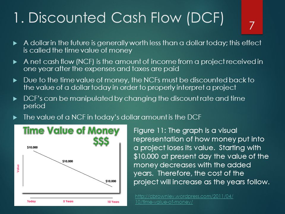 1. Discounted Cash Flow (DCF)  A dollar in the future is generally worth less than a dollar today; this effect is called the time value of money  A