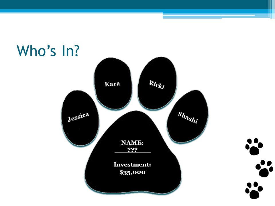 Who's In NAME: ___ ___ Investment: $35,000 Kara Jessica Shashi Ricki