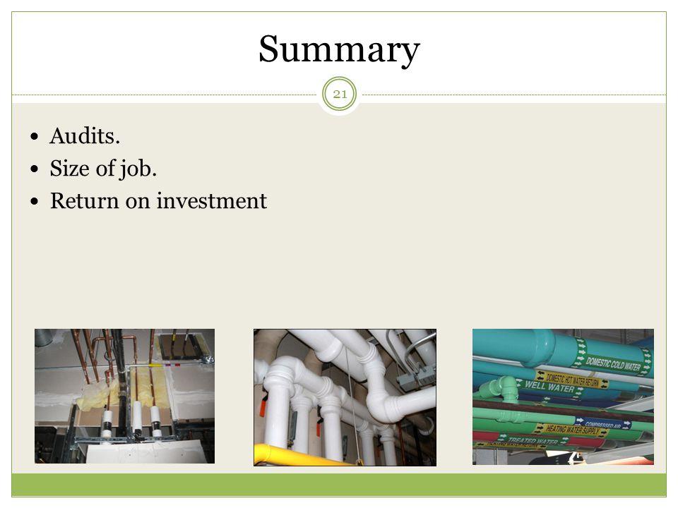 Summary Audits. Size of job. Return on investment 21
