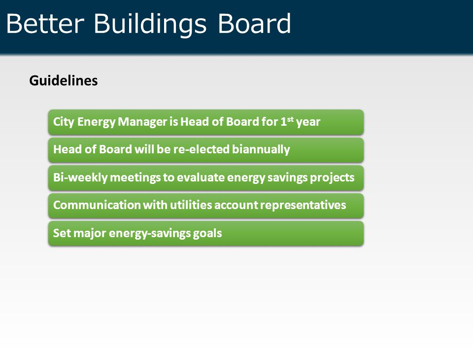 Better Buildings Board Guidelines City Energy Manager is Head of Board for 1 st yearHead of Board will be re-elected biannuallyBi-weekly meetings to evaluate energy savings projectsCommunication with utilities account representativesSet major energy-savings goals