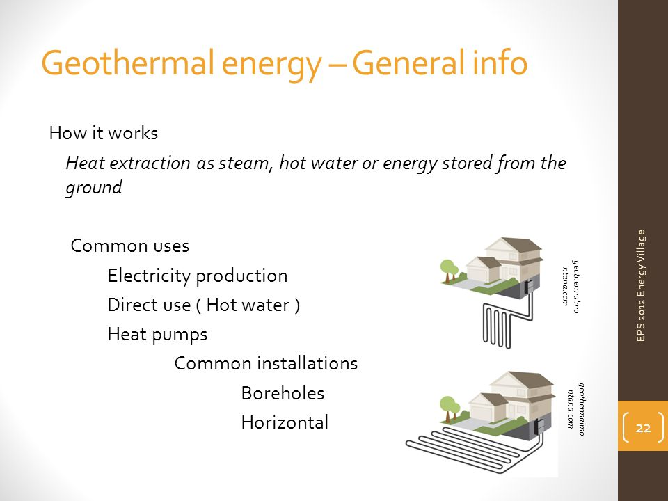 Geothermal energy – General info How it works Heat extraction as steam, hot water or energy stored from the ground Common uses Electricity production Direct use ( Hot water ) Heat pumps Common installations Boreholes Horizontal EPS 2012 Energy Village 22 geothermalmo ntana.com