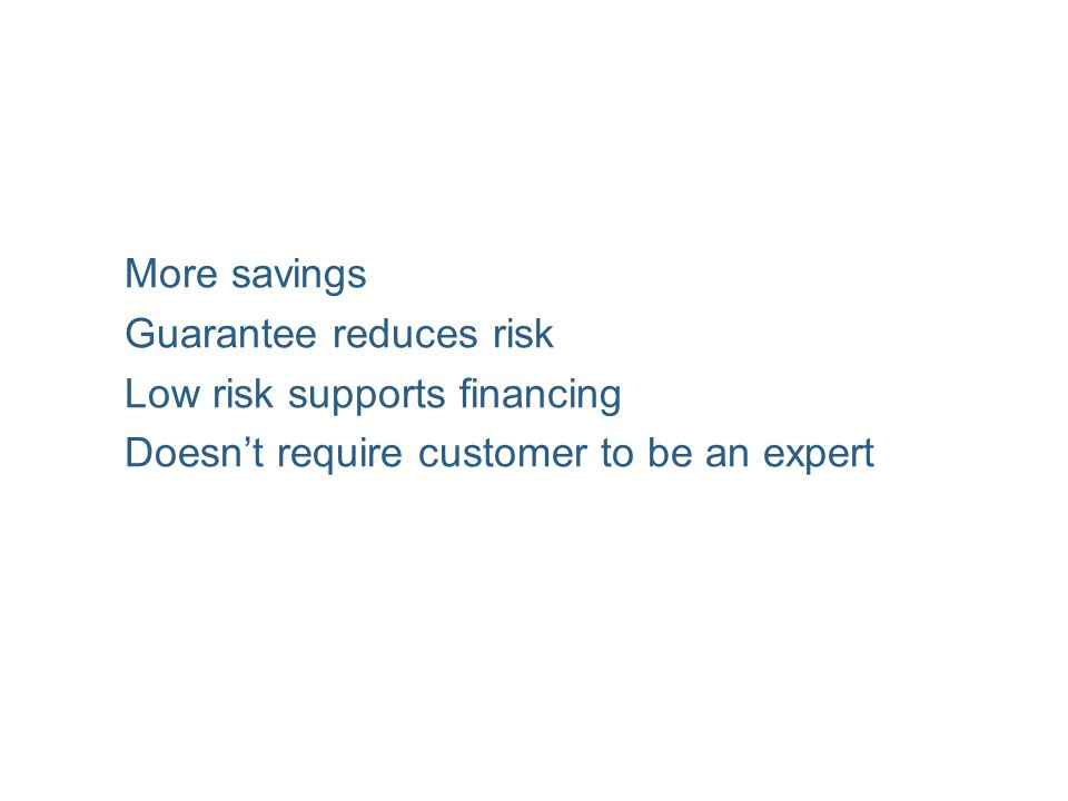 More savings Guarantee reduces risk Low risk supports financing Doesn't require customer to be an expert
