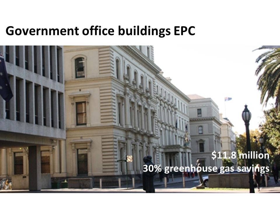 $11.8 million 30% greenhouse gas savings Government office buildings EPC