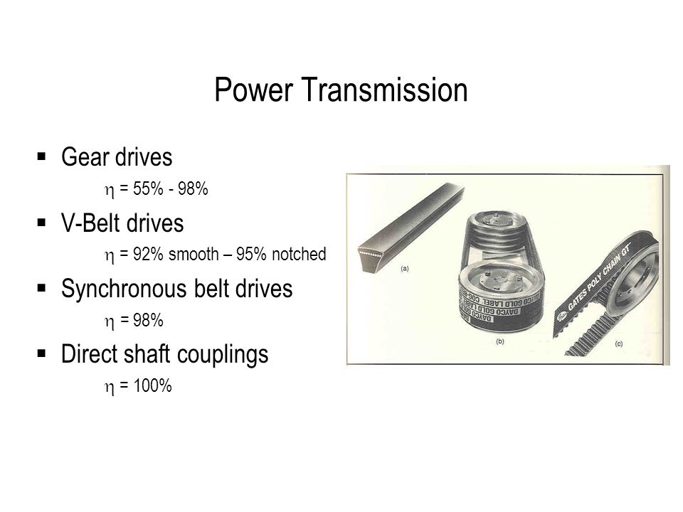 Power Transmission  Gear drives  = 55% - 98%  V-Belt drives  = 92% smooth – 95% notched  Synchronous belt drives  = 98%  Direct shaft couplings  = 100%