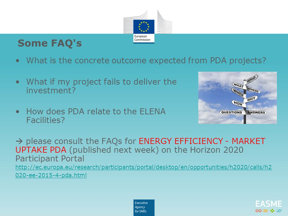 What is the concrete outcome expected from PDA projects? What if my project fails to deliver the investment? How does PDA relate to the ELENA Faciliti