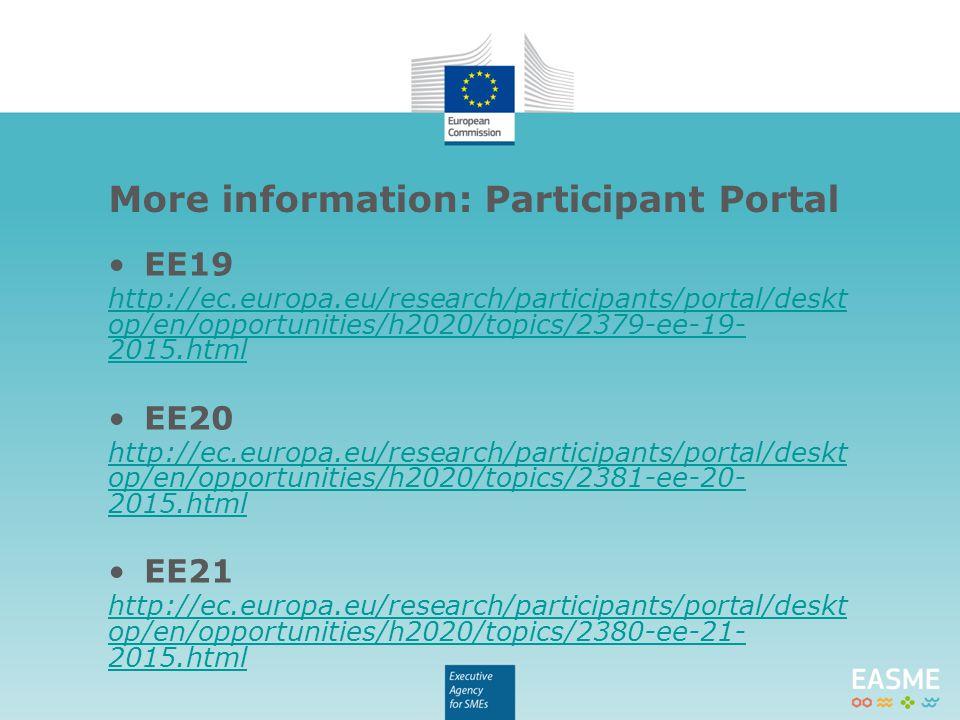 EE19 http://ec.europa.eu/research/participants/portal/deskt op/en/opportunities/h2020/topics/2379-ee-19- 2015.html EE20 http://ec.europa.eu/research/participants/portal/deskt op/en/opportunities/h2020/topics/2381-ee-20- 2015.html EE21 http://ec.europa.eu/research/participants/portal/deskt op/en/opportunities/h2020/topics/2380-ee-21- 2015.html More information: Participant Portal