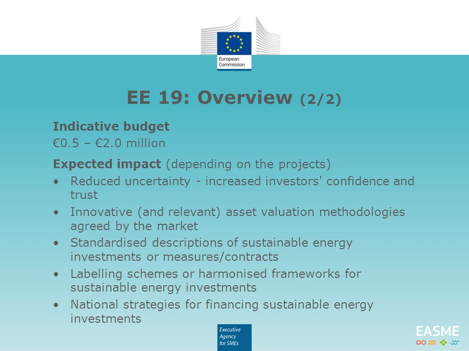 Indicative budget €0.5 – €2.0 million Expected impact (depending on the projects) Reduced uncertainty - increased investors' confidence and trust Inno