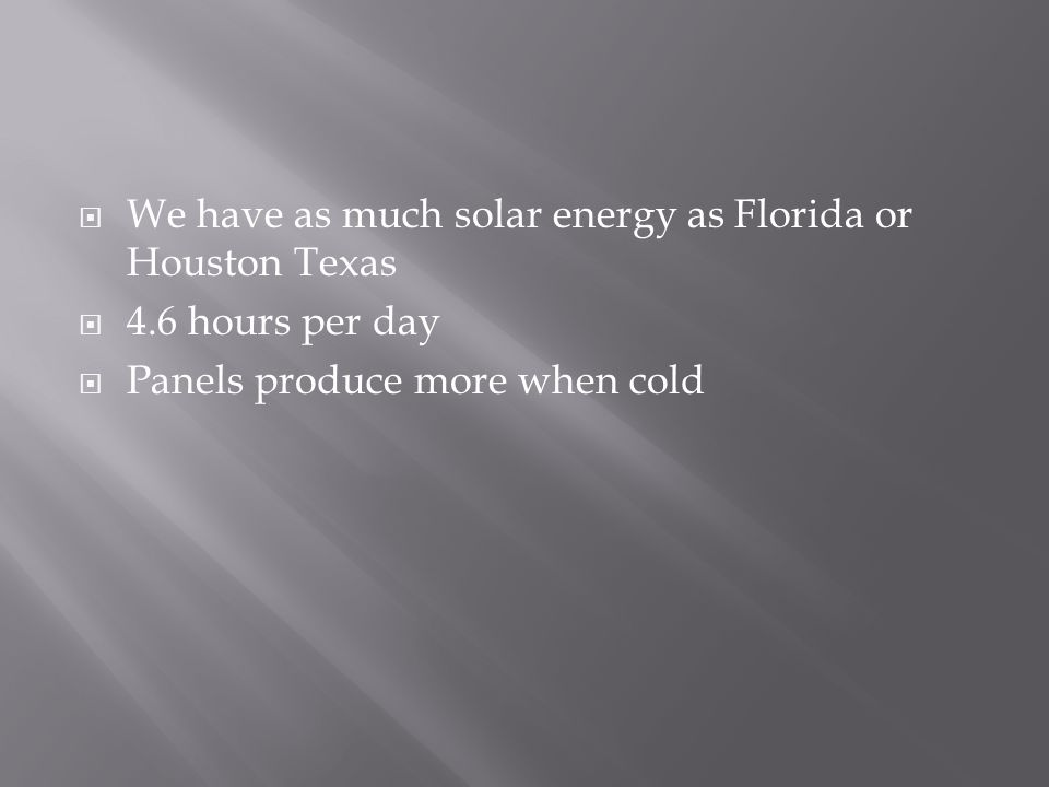  We have as much solar energy as Florida or Houston Texas  4.6 hours per day  Panels produce more when cold