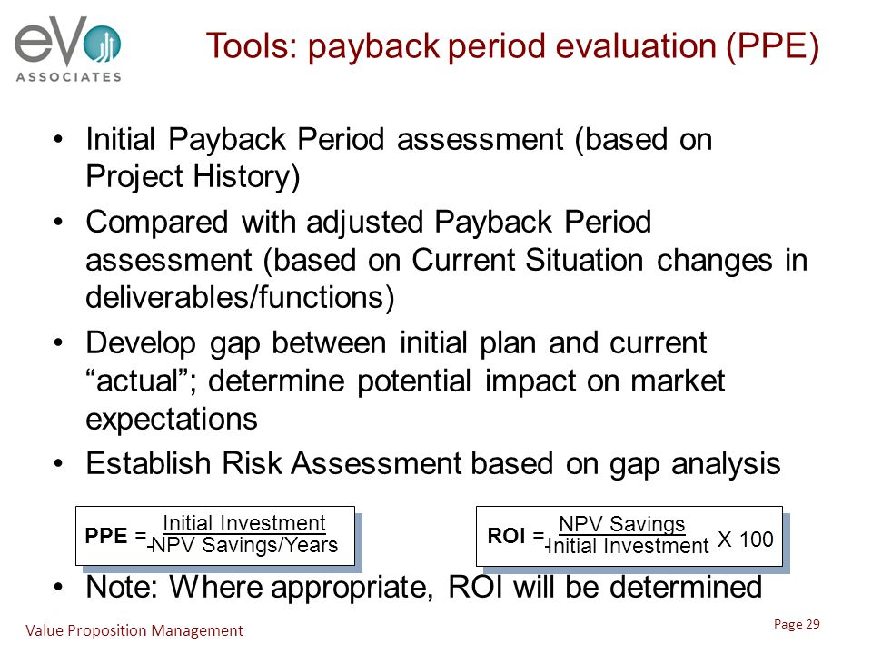 Tools: payback period evaluation (PPE) Initial Payback Period assessment (based on Project History) Compared with adjusted Payback Period assessment (based on Current Situation changes in deliverables/functions) Develop gap between initial plan and current actual ; determine potential impact on market expectations Establish Risk Assessment based on gap analysis Note: Where appropriate, ROI will be determined Initial Investment NPV Savings/Years PPE = NPV Savings Initial Investment ROI = X 100 Value Proposition Management Page 29