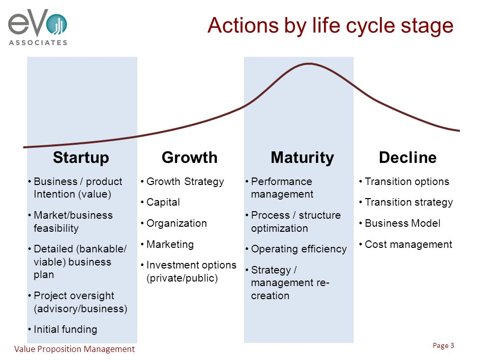 Actions by life cycle stage StartupGrowthMaturityDecline Business / product Intention (value) Market/business feasibility Detailed (bankable/ viable)