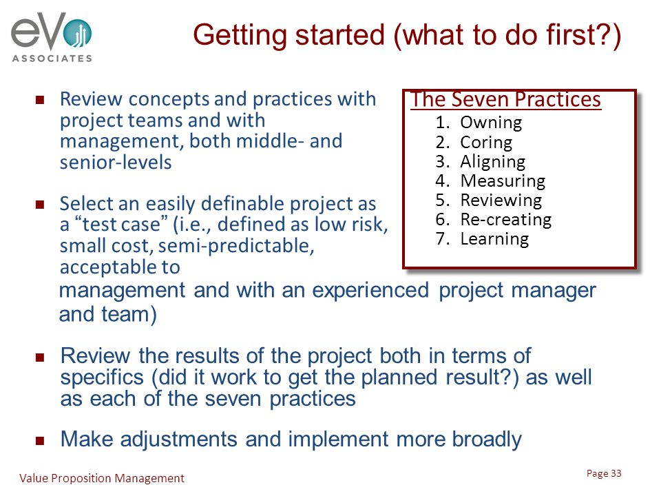 Getting started (what to do first?) The Seven Practices 1.Owning 2.Coring 3.Aligning 4.Measuring 5.Reviewing 6.Re-creating 7.Learning The Seven Practi