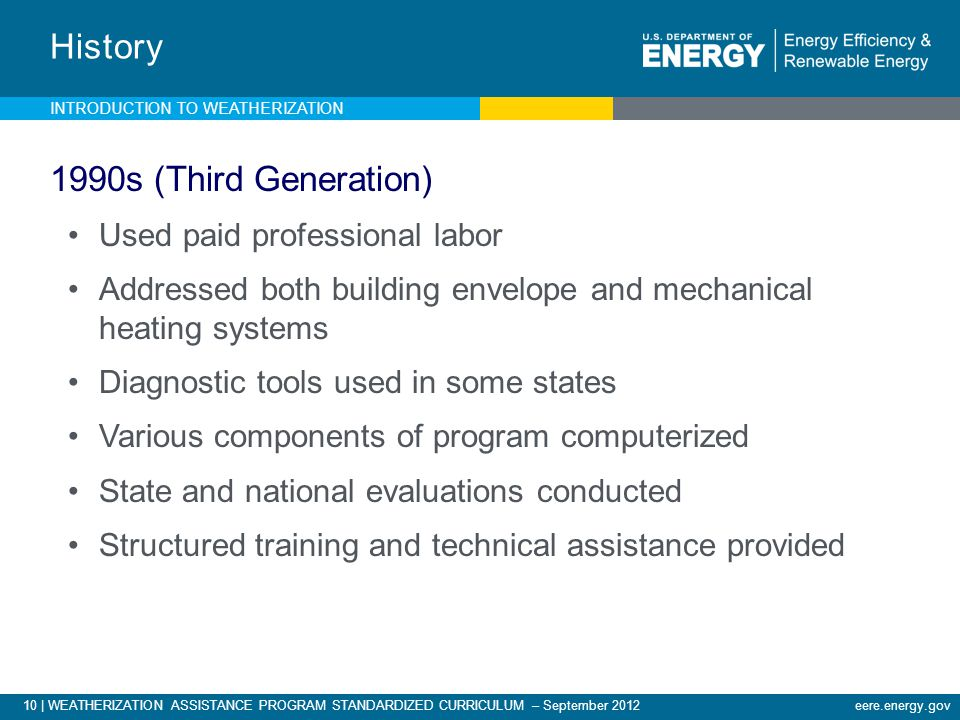10 | WEATHERIZATION ASSISTANCE PROGRAM STANDARDIZED CURRICULUM – September 2012eere.energy.gov History 1990s (Third Generation) Used paid professional labor Addressed both building envelope and mechanical heating systems Diagnostic tools used in some states Various components of program computerized State and national evaluations conducted Structured training and technical assistance provided INTRODUCTION TO WEATHERIZATION