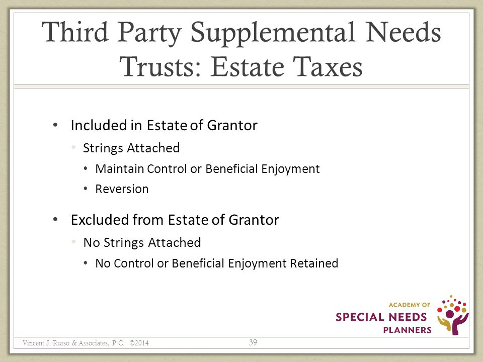 Third Party Supplemental Needs Trusts: Estate Taxes Included in Estate of Grantor Strings Attached Maintain Control or Beneficial Enjoyment Reversion Excluded from Estate of Grantor No Strings Attached No Control or Beneficial Enjoyment Retained 39 Vincent J.