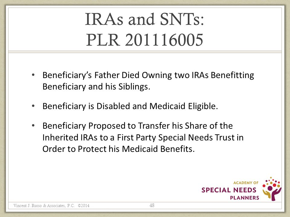 IRAs and SNTs: PLR 201116005 Beneficiary's Father Died Owning two IRAs Benefitting Beneficiary and his Siblings.