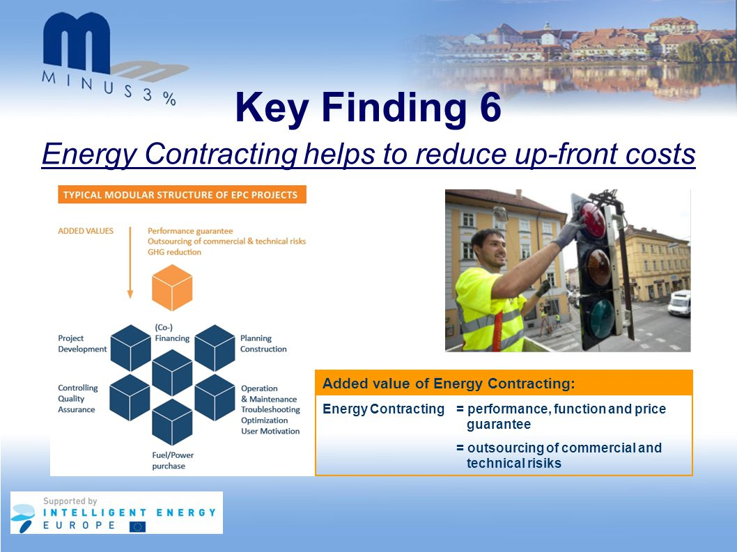 Key Finding 6 Energy Contracting helps to reduce up-front costs Energy Contracting = performance, function and price guarantee = outsourcing of commer