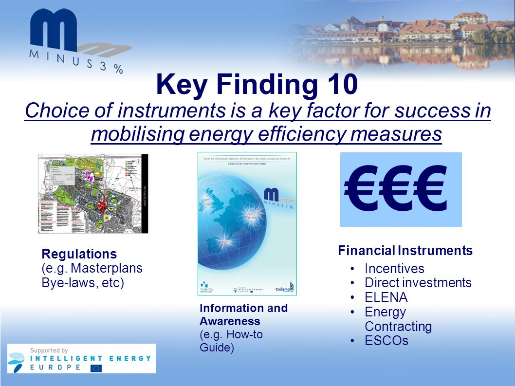 Key Finding 10 Choice of instruments is a key factor for success in mobilising energy efficiency measures Regulations (e.g. Masterplans Bye-laws, etc)