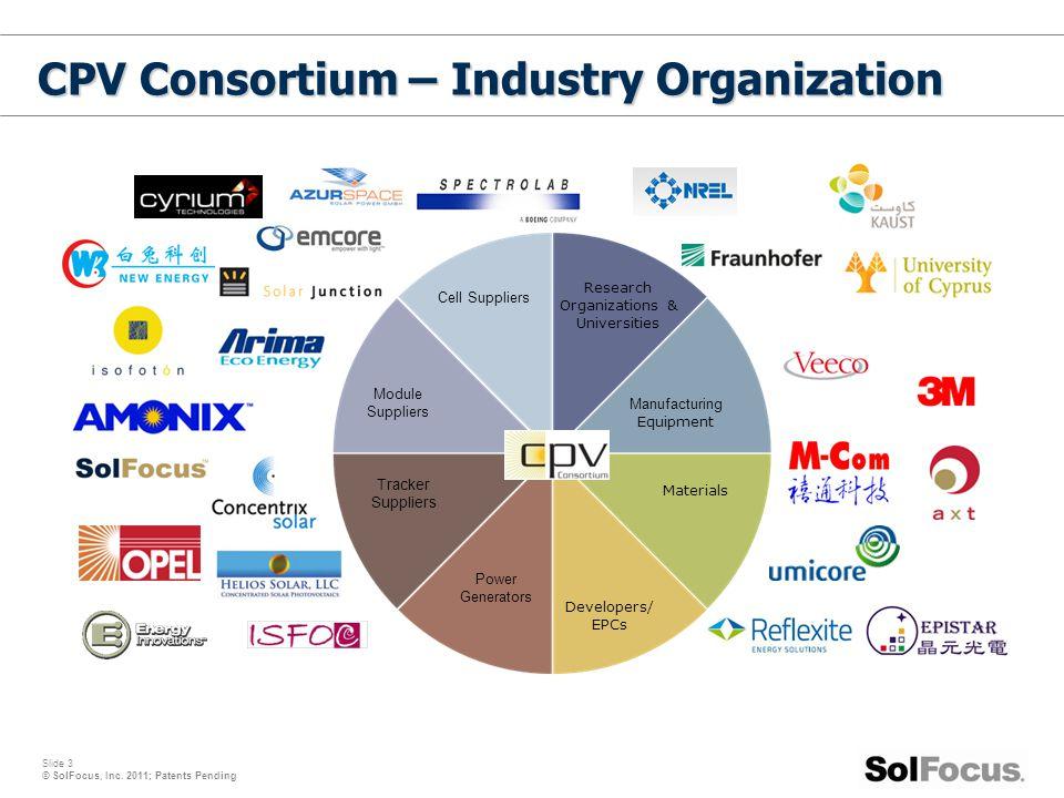 Slide 3 © SolFocus, Inc. 2011; Patents Pending CPV Consortium – Industry Organization Manufacturing Equipment Materials Developers/ EPCs Power Generat