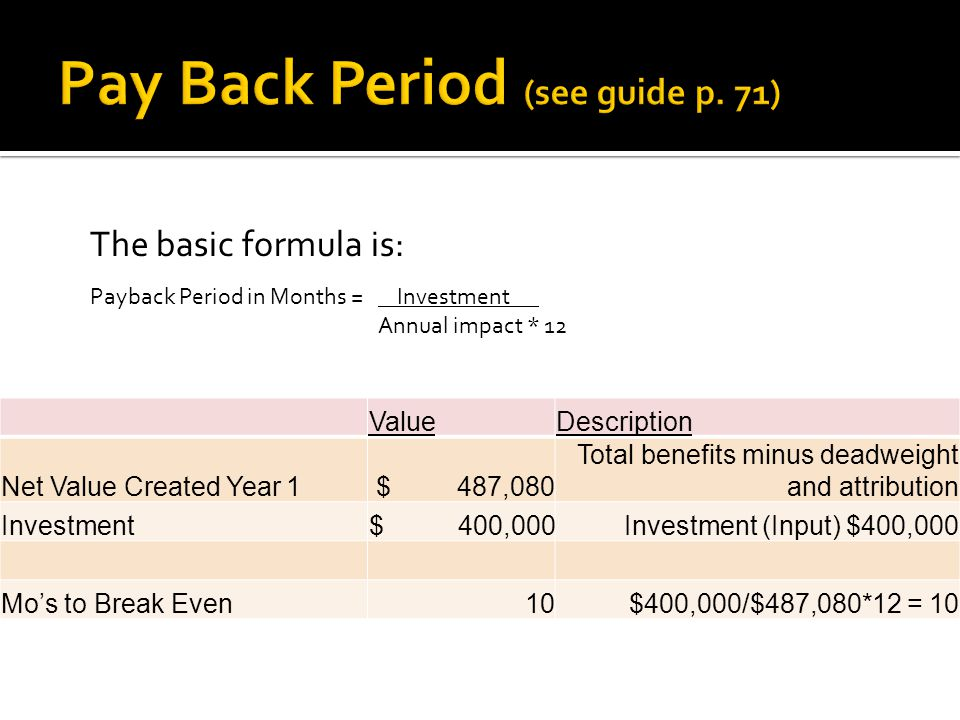 The basic formula is: Payback Period in Months = Investment. Annual impact * 12 ValueDescription Net Value Created Year 1 $ 487,080 Total benefits min
