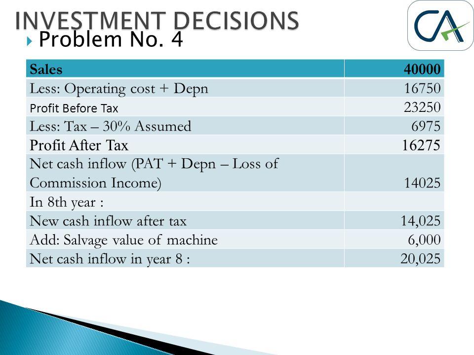  Problem No. 4 Sales40000 Less: Operating cost + Depn16750 Profit Before Tax 23250 Less: Tax – 30% Assumed6975 Profit After Tax16275 Net cash inflow