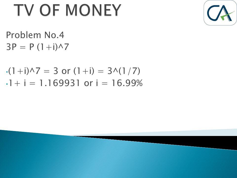 Problem No.4 3P = P (1+i)^7 (1+i)^7 = 3 or (1+i) = 3^(1/7) 1+ i = 1.169931 or i = 16.99%