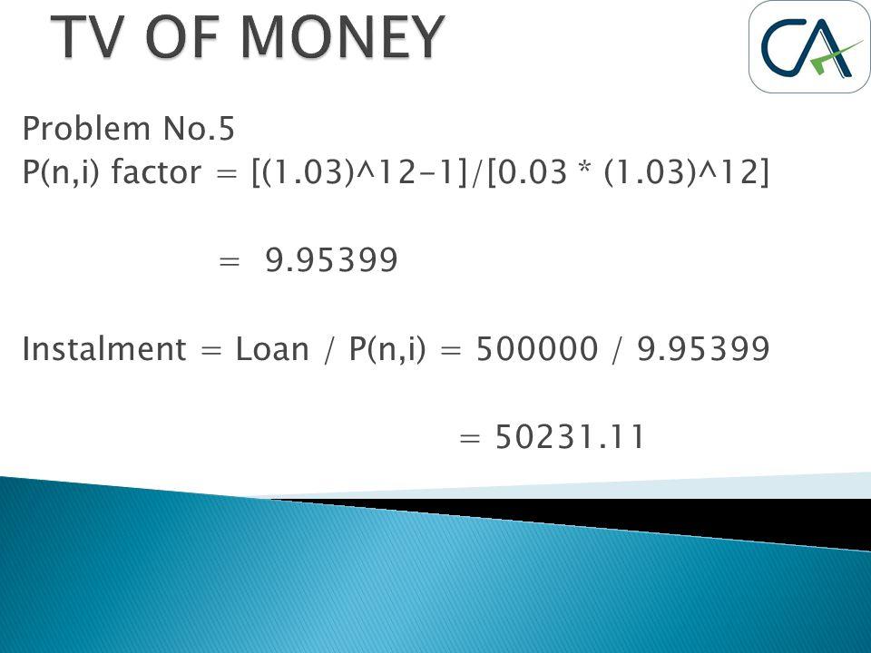 Problem No.5 P(n,i) factor = [(1.03)^12-1]/[0.03 * (1.03)^12] = 9.95399 Instalment = Loan / P(n,i) = 500000 / 9.95399 = 50231.11