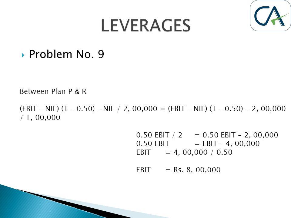  Problem No. 9 Between Plan P & R (EBIT – NIL) (1 – 0.50) – NIL / 2, 00,000 = (EBIT – NIL) (1 – 0.50) – 2, 00,000 / 1, 00,000 0.50 EBIT / 2= 0.50 EBI