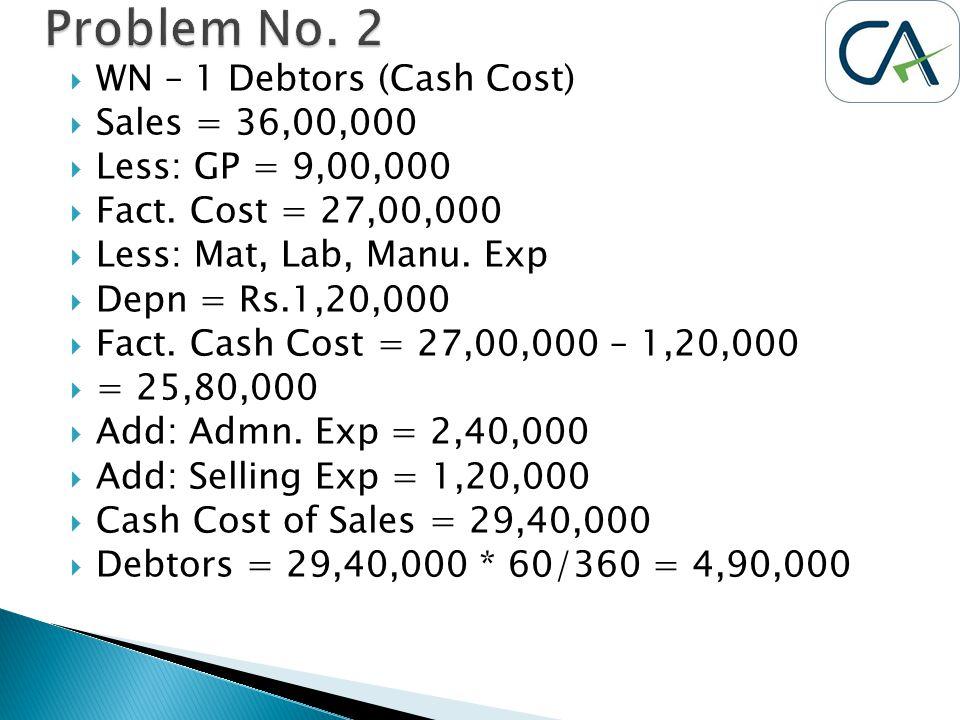 WN – 1 Debtors (Cash Cost)  Sales = 36,00,000  Less: GP = 9,00,000  Fact. Cost = 27,00,000  Less: Mat, Lab, Manu. Exp  Depn = Rs.1,20,000  Fac