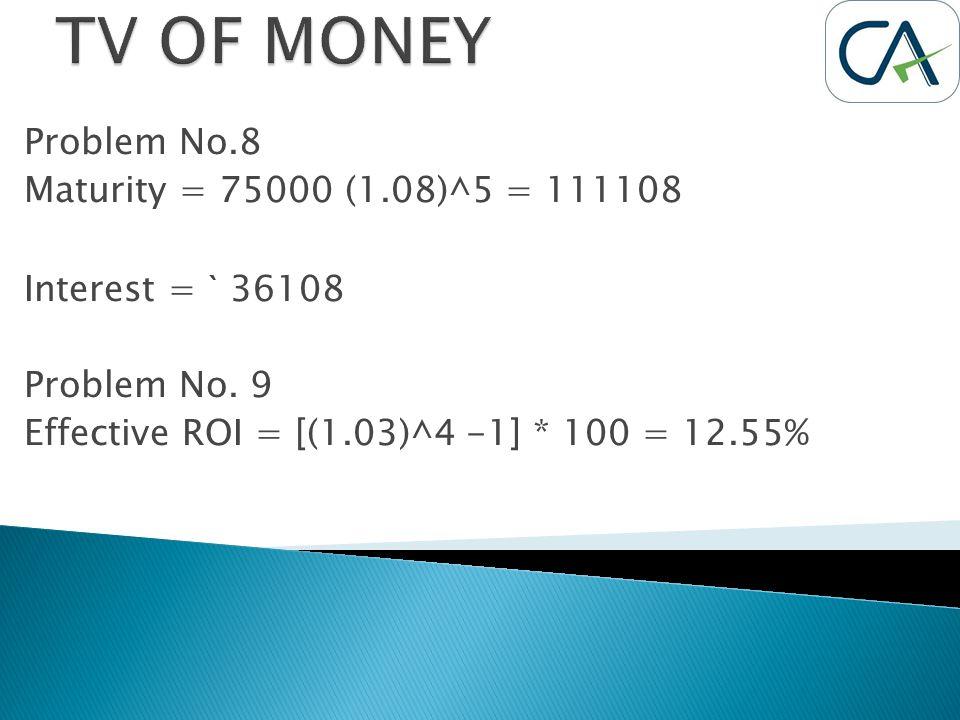 Problem No.8 Maturity = 75000 (1.08)^5 = 111108 Interest = ` 36108 Problem No. 9 Effective ROI = [(1.03)^4 -1] * 100 = 12.55%